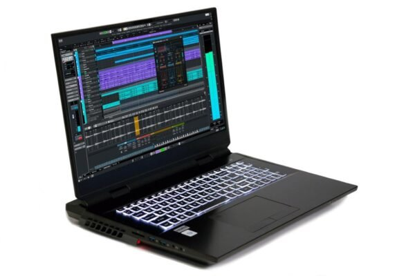 PCAudioLabs MC m10 - Pro Audio Laptop - Quarter shot open - left side - LED keyboard and lower LED - with Cubase
