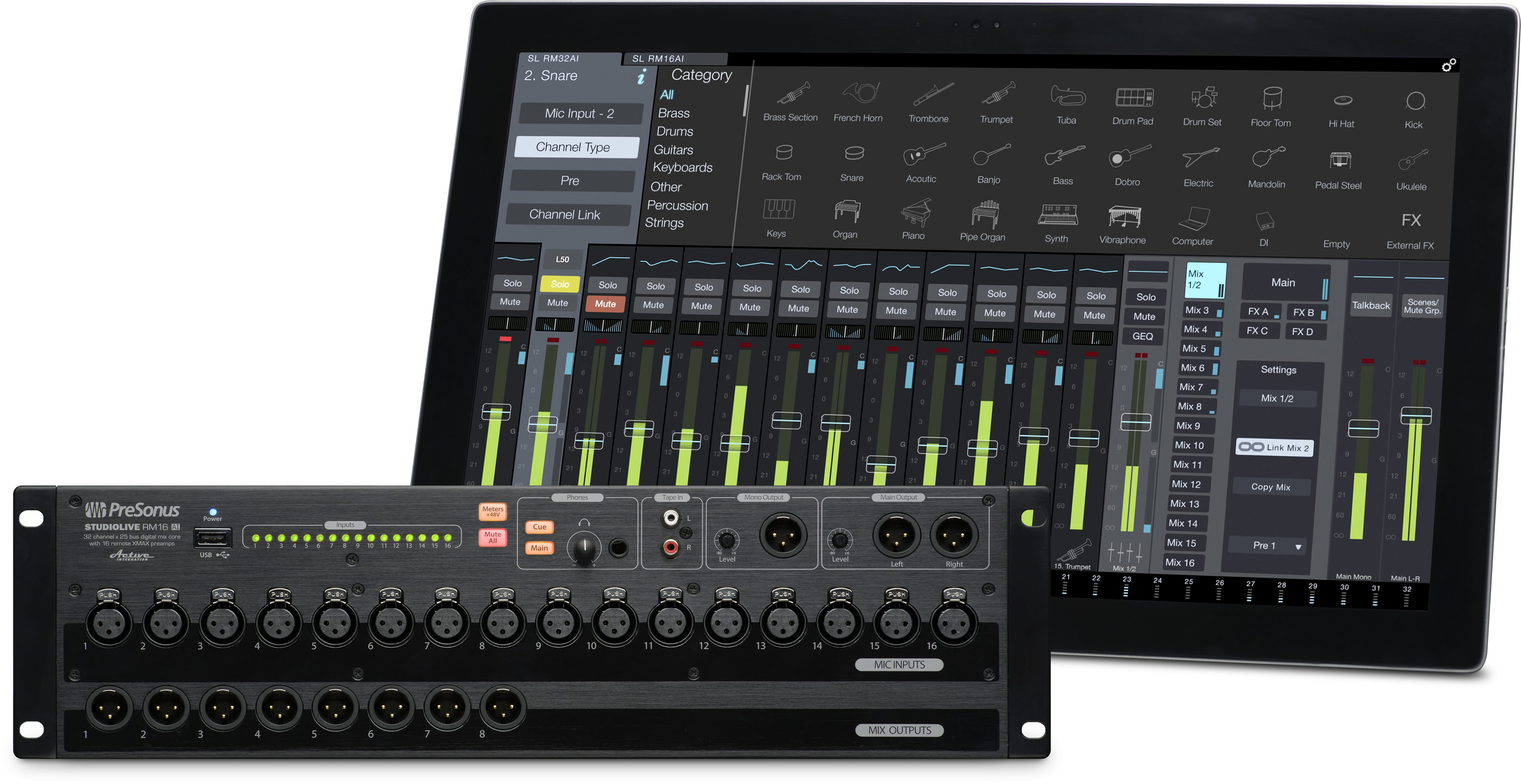 presonus studiolive rm16ai 16 channel rack mounted mixer. Black Bedroom Furniture Sets. Home Design Ideas
