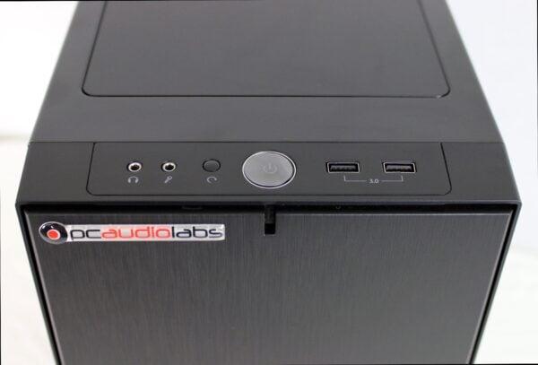 MC series black mid tower top power button shot
