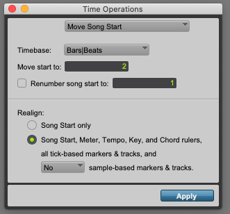 Move Song Start in Pro Tools