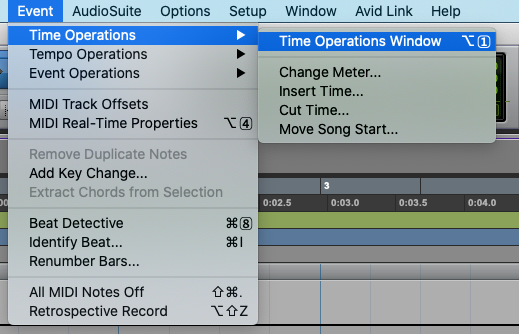 Time Operations Window in Pro Tools